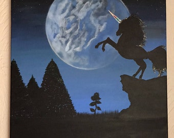 Magical Unicorn in the Moonlight canvas painting.
