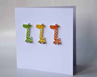 Giraffe wooden button greeting card with envelope 5x5