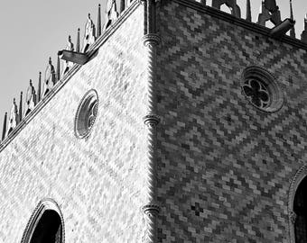 "Digital art Printable art 300dpi 24x36 and 8x12 Digital Art. Black and white travel photography from Venice, Italy : ""SAN MARCO CORNER """