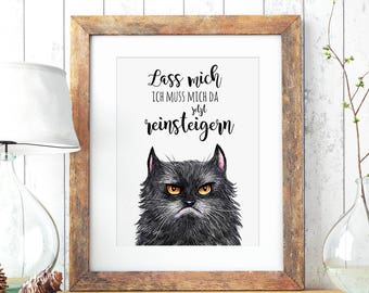 A3 Print Illustration Poster Cat upset P58