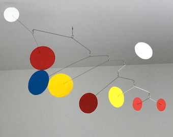 Hand-Painted Alexander Calder Inspired Mid-Century Modern Abstract Kinetic Mobile Sculpture #8