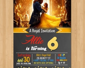 Beauty and the Beast Invite - Chalkboard Red and Gold - Beauty & the Beast Movie Invite - Chalkboard Invitation - Party Favors - Printables