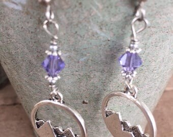 Purple Mountain Charm Dangle Earrings Swarovski Crystal