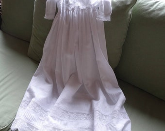 Christening robe, 1920s French,  fine handkerchief cotton