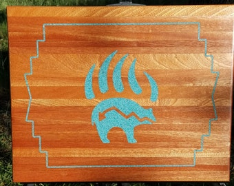 Mahogany Cutting Board with Turquoise Inlay
