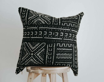 """African Mudcloth Throw Pillow Cover 20 inch Square """"Xola"""""""