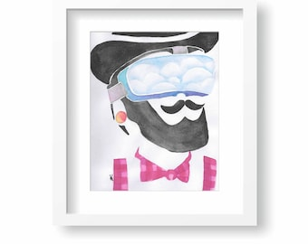 Hipster in VR 8x10 Original Watercolor Painting