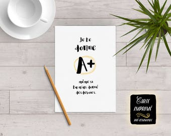 "Card printed ""I give you A +..."" - greeting card, funny card, card for teacher (e), gift for teacher, end of year"