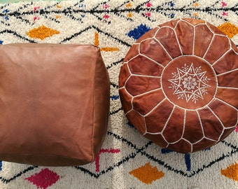 set of two leather pouf,moroccan handcrafted leather pouf, ottoman leather pouf