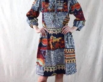 Ethnic Vintage 70s Cotton Asian Floral Paisley Print Boho Tie Front Shirt Dress Tunic Medium