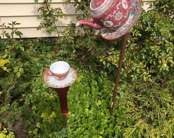 Red Asian inspired tea pot bird feeder