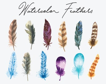 12 Watercolor Feathers Cliparts, Watercolor Cliparts, Feathers Cliparts SVG, Watercolor Boho Cliparts, HD, 300 ppi, Vector Files