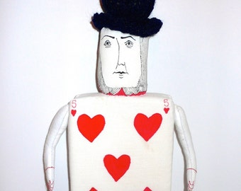 Mr card to play, doll painted and drawn, recycled fabrics - a radish told me.