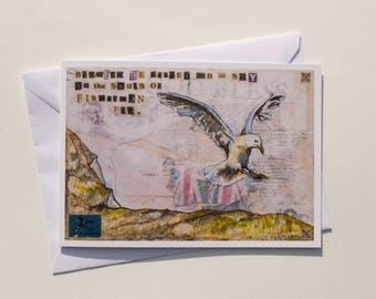 Seagull, fisherman, seaside Art. Vintage style greetings card by British artist, Arthur Seabrigg, from an original painting with collage.