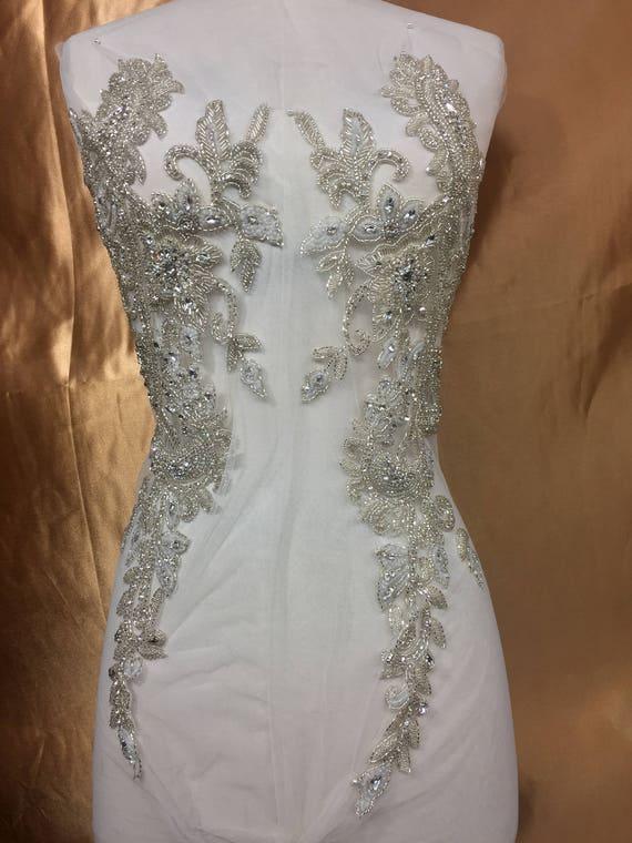 Designer full body rhinestone applique beaded wedding dress for Full body wedding dress