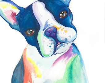 Boston Terrier Original Watercolor Print, Colorful