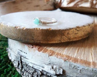 Silver Wire Amazonite Gemstone Ring Size 6 925