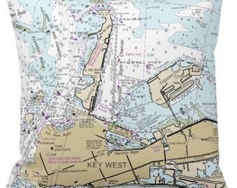 Florida.  Key West, FL Nautical Chart Pillow