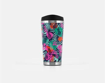 Tropical Travel Mug, Pineapple Travel Tumbler, Tropical Mug, Tropical Coffee Mug, Stainless Steel Mug, To Go Coffee Mug, 16 oz