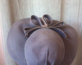 1940s Lavender Blue Wide Brim Hat