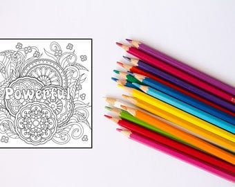 Positive Coloring Page -Powerful Adult Coloring Page-Positive Message Coloring Page-I Am Powerful Printable Coloring Page-Gift coloring Page