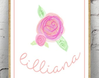 Rose Wall Art, Nursery Decor, Printable Wall Art, Girl's Room, *Digital File*