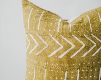Yellow Mali Mud Cloth Pillow Cover... African Mudcloth, Boho Mudcloth, Boho Decor Tribal Pillow, Throw Pillow, Linen