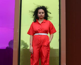 80s Vintage Red Jumpsuit