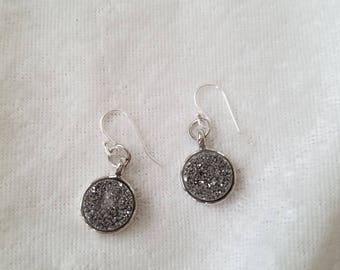 Silver Velvet Earrings, Druzy Earrings, Silver Druzy Earrings, Druzy Quartz Earrings, Minimalist Earrings, Simple Silver Earrings