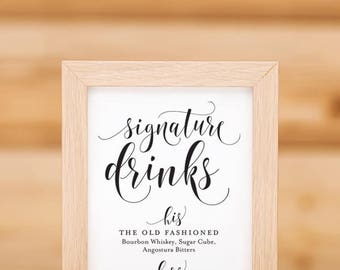 His And Hers Signature Drinks Bar Sign Printable 02
