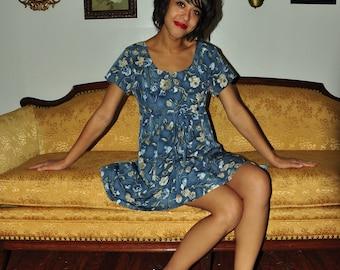The Rowan: Moody Blue 90s Satin Floral Short Sleeve Dress