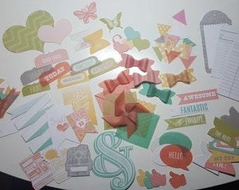 Embellishments - 90 Pcs -  Cardstock / Vellum Ephemera Pack