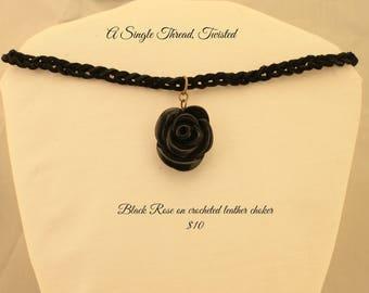 Black Rose on Crocheted leather choker
