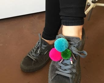 Pompon Pimp candy, Pompon Brooch, neonpink-green ice blue, Shoe Clip, Shoe Charm, Pompon Pin,Bag charm, brooch multicolor