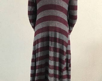 Vest long vintage style 70 ' grey and plum striped