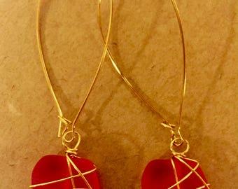 Wrapped sea glass earrings