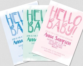 Hello Baby! Printable Invitation - Baby Shower - Blue, Teal or Pink!