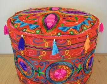 Kashmiri Style Pouf/Beanbag with Embroidered Petal Pattern in Red