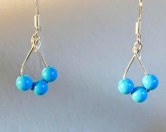 Natural Blue Howlite Gemstone Beaded Earrings