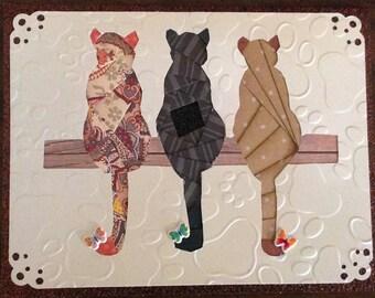Iris Folding Three Cats Greeting Card