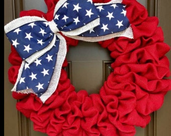 patriotic handmade burlap wreath.... can also be done in many different colors of burlap and ribbon