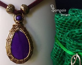 Violet Jade Emotion,  Wire Wrapped Pendant