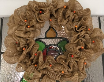 Handmade Burlap Wreath with Summer Berries