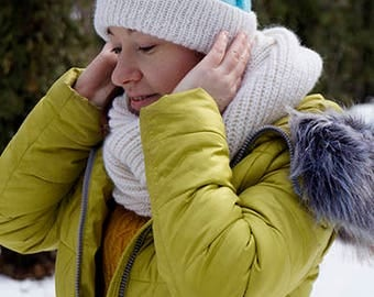 Women's Knit Hat /Knit blue Hat/Handmade Hat/