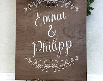 Wedding plate with decoration Braun Holz wedding personalized plate