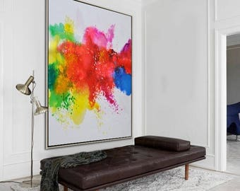 Original abstract painting on canvas, large vertical contemporary art, hand painted. FREE shipping. By Ethan Hill Art No.H6V
