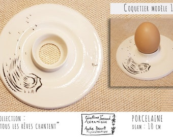 Egg Cup porcelain illustrated, model 1