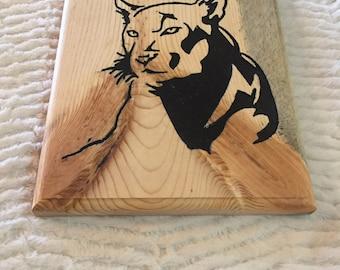 Cougar Inlay Wall Carving