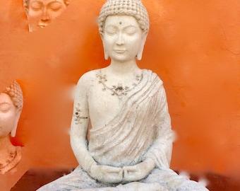 Orange Buddha greeting card