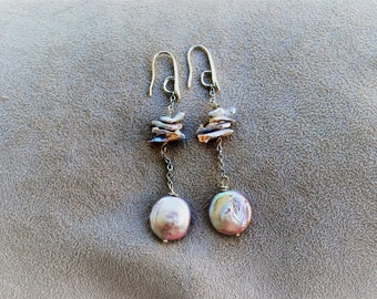 Earrings with freshwater pearls and hand-made stainless steel chain